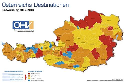 Österreichische Destinationskarte 2012 (Quelle: ÖHV)