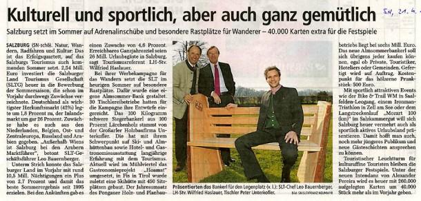 Bericht in den Salzburger Nachrichten vom 21. 4. 12