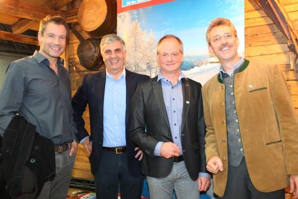 Unser Markenbotschafter Armin Assinger, Peter Hettegger & Josef Gruber (Bergbahnengeschäftsführer), Thomas Wirnsperger (Tourismusdirektor Großarltal)