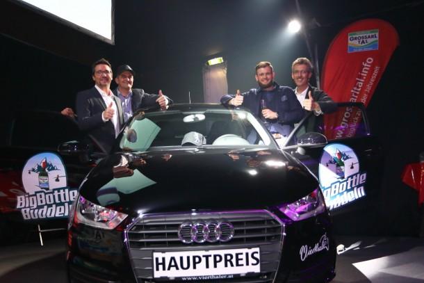 v.l.n.r.: Franz Wenzl (VW/Audi Vierthaler St. Johann i. P.), Hans Hettegger (Hotel Edelweiss, Obmann der Gastwirtevereinigung Großarltal, Gewinner Matthias Unterkofler, Thomas Wirnsperger (TVB Großarltal)