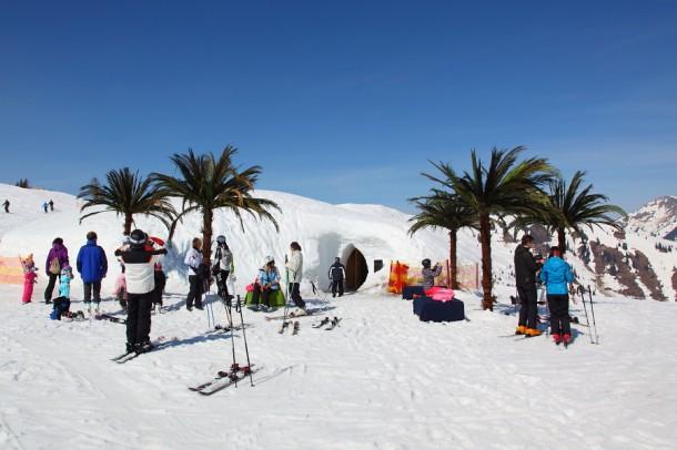 """Palmenstrand"" am Schnee-Iglu"