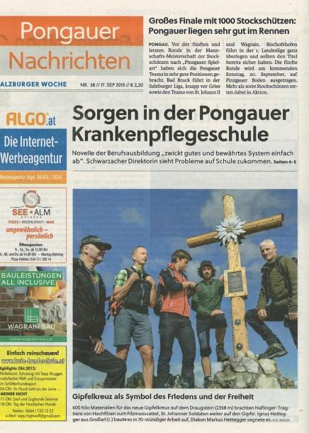 Bericht über das neue Kreuz am Draugstein - Heute auf der Titelseite der Pongauer Nachrichten