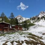 Mehrere kleine Hütten liegen rings um die Filzmoosalm, dahinter das Gamsköpfl und der Draugstein