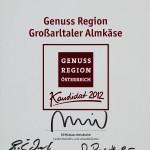 "Urkunde ""Genussregion Großarltaler Almkäse"" - Kandidat"