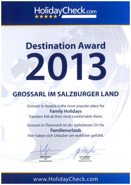 Urkunde des Holiday Check Destination Award 2013 für Großarl