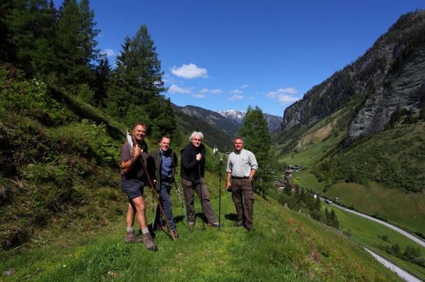 Wanderweg-Begehung alter Hubalmsteig, v.l.n.r: Hias Laireiter, Rupert Gschwandtl, Franz Zraunig, Robert Schilcher (ÖBF)