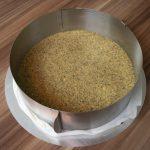 Der Keks-Kürbisboden fest in die Form gedrückt