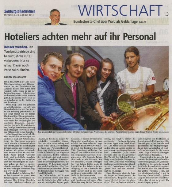 Bericht in den Salzburger Nachrichten vom Mi, 28. August 2013