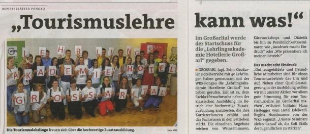 Bericht im Bezirksblatt Pongau vom Do 29. August 2013