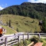 """Ankunft mit dem Mountainbike auf der Maurachalm - im Hintergrund erhebt sich mein Top-Lieblingsberg """"Kitzsteingabel"""""""