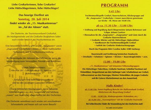 Programm Musikantenroas 2014