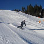 Der erste Skifahrer der mir entgegenkommt