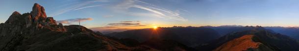 Sonnenaufgang am Vorgipfel des Schuhflickers