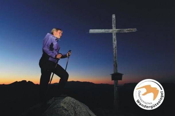 Gipfelsieg am Saukarkopf - kurz nach Sonnenuntergang