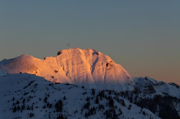 Höllwand beim Sonnenaufgang - aufgenommen bei -20 °C
