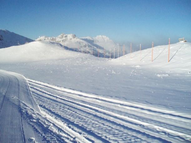 So sah es heute mittag (5. 12.) auf der Skischaukelverbindung mit Blick Richtung Schuhflicker aus