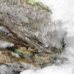 Eiskristalle auf mit Flechten bewachsenem Stein