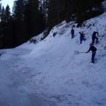 Die Jagateeabfahrt wird mit frischem Schnee versorgt