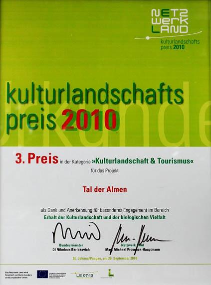 Urkunde Kultur- & Landschaftspreis