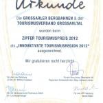 """Ernennungsurkunde zur """"Salzburgs innovativsten Tourismusregion 2012"""""""