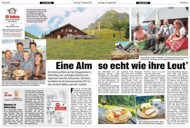 Bericht in der Salzburger Krone über die Draugteinalm-Steinmannhütte