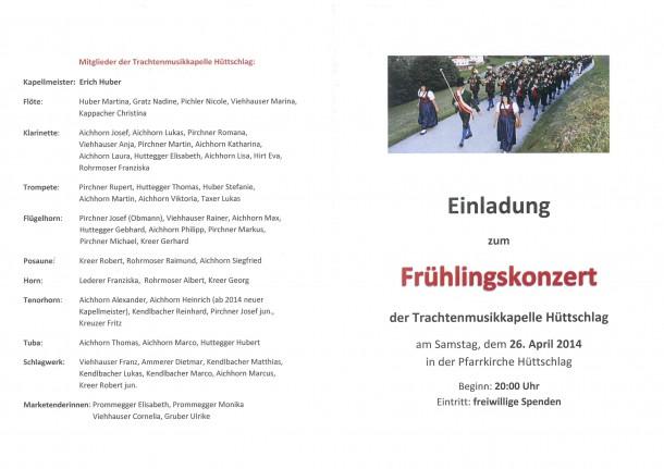 Einladung zum Frühlingskonzert der Trachtenmusikkapelle Hüttschlag