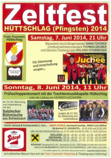 Programm Zeltfest in Hüttschlag