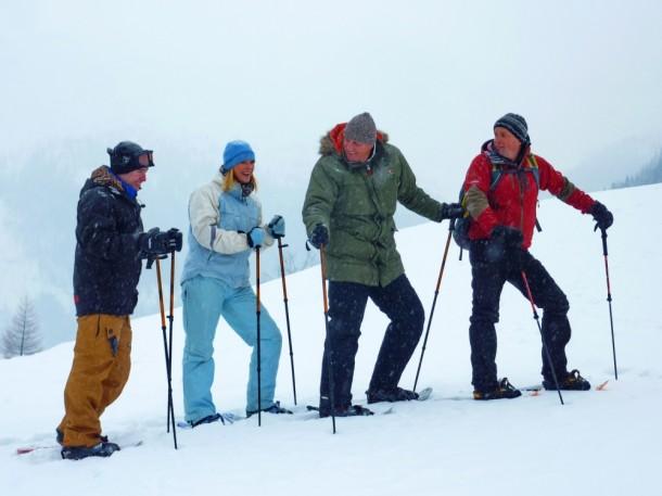 Beim Schneeschuhwandern (Peter Vilagi, Alex and Steve Hajdu und Robert Kendlbacher)