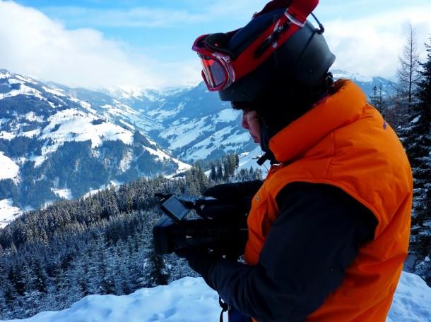 Dreharbeiten im Skigebiet, Kamerafrau Eszter