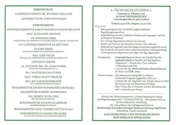 Programm Großarler Jägerball